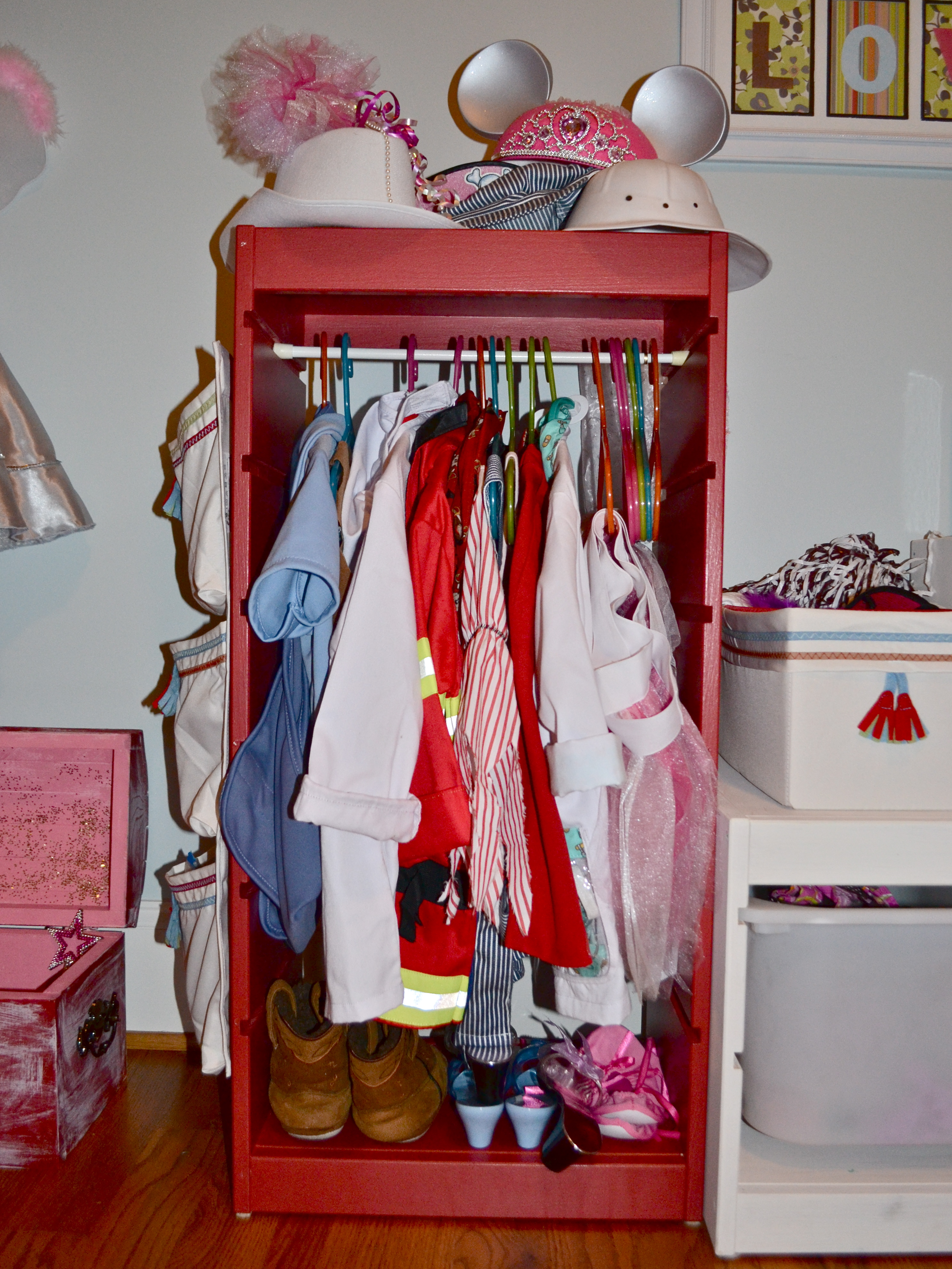 Instead Of Filling It With Bins, I Opted To Make It A Pseudo Hanging Closet  For The Less Bulky Dress Up Clothing.