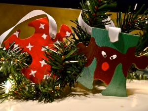puzzle ornaments stars rudolph