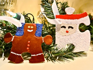 puzzle ornaments gingerbread santa