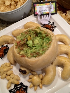 guac in a spider bread bowl